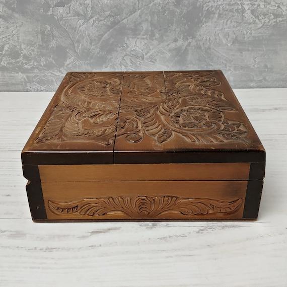 Vintage Soviet hand-painted jewelry box Russian wooden casket box Nacreous Rich red color Casket Russian spring landscape Trinkets box 1960s