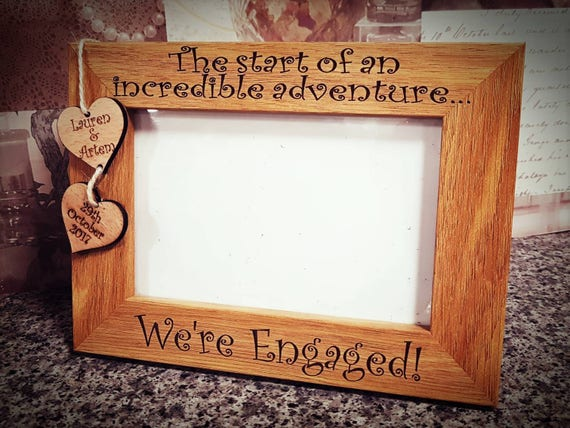 Were Engaged Personalised Gift Engagement Gift Wood Frame Etsy