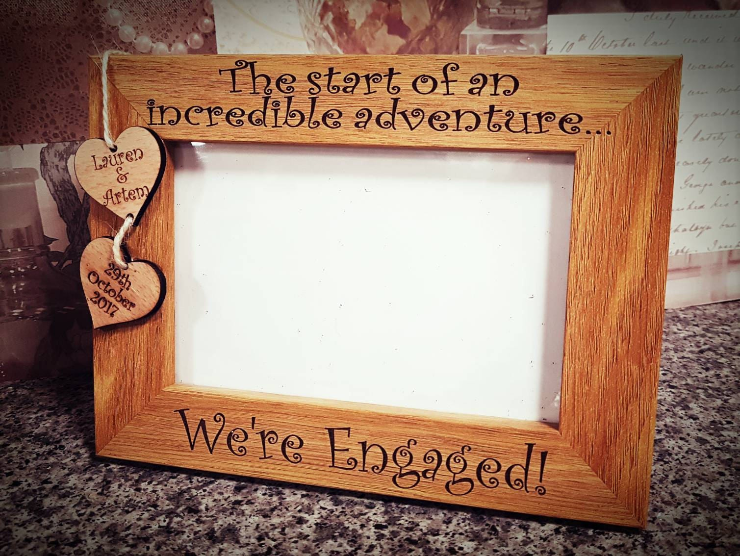 Were engaged personalised gift, engagement gift, wood frame ...
