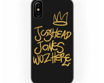 Jughead Jones was here phone case | Golden hand lettering illustration with Bughead crown | Archie comics Netflix inspired fan art merch