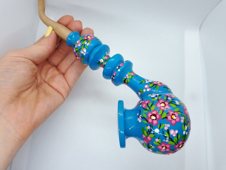 Pink flower wooden pipe Blue dove cherry blossom smoking bowl Long unique pipe Sakura pipe Cute girly spring pipe Painted tobacco pipe