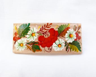 Wooden hair barrette, Painted hair clip, Unique hair pin, White and red flower barrette, Gift for Her, Hair Accessory, Bun holder with daisy