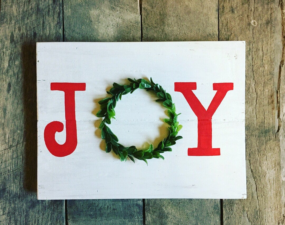 Joy boxwreath sign joy christmas sign joy christmas wooden | Etsy