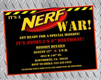 Nerf Party Invitations, Nerf Birthday Invitations, Nerf Bday Invites, Nerf Party Invites, Nerf gun party, nerf war, dart gun party