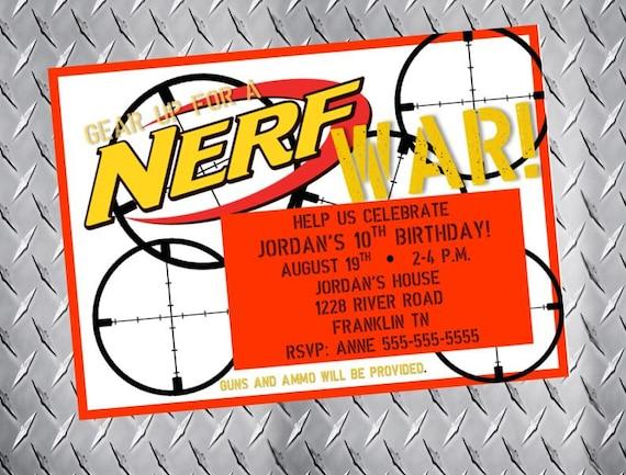 Nerf Birthday Invitation Nerf Wars Party Invitation Nerf Gun Etsy