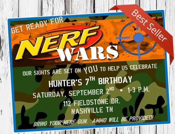 Nerf Birthday Invitation Nerf Gun Party Dart Gun Bday Etsy