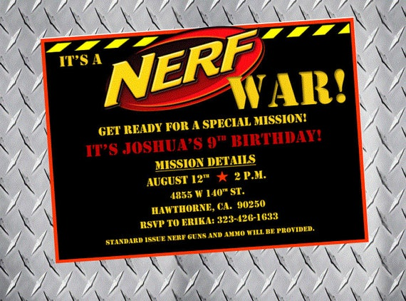 Nerf Party Invitations Nerf Birthday Invitations Nerf Bday Etsy