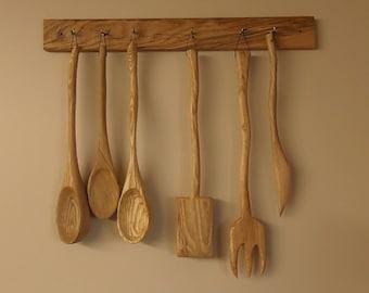 Hand carved kitchen utensil set