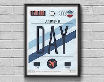 Dayton Airport Tag, USA Travel Poster, Ohio Luggage Tag, Dayton Framed Print, DAY Airport Code, Dayton Souvenir,USA Souvenir Gift For Pilots