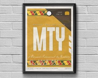 Moterrey Airport Tag, Mexico Travel Poster, Mexico Luggage Tag, Moterrey Framed Print, MTY Airport Code, Mexico Souvenir, Moterrey Souvenir