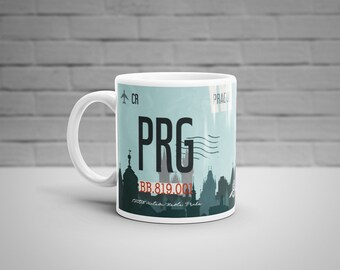 Prague Airport Tag Mug, Personalised Mug, PRG Airport Code Mug, Czech Aviation Art, Prague Travel Mug, Luggage Tag Art, Czech Souvenir