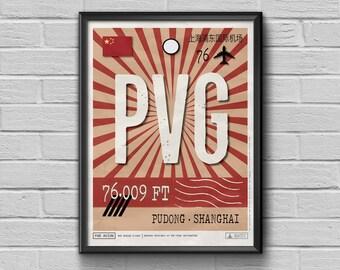 Shanghai Airport Tag, China Travel Poster, Pudong Luggage Tag, China Framed Print, PVG Airport Code, China Souvenir, Shanghai Souvenir