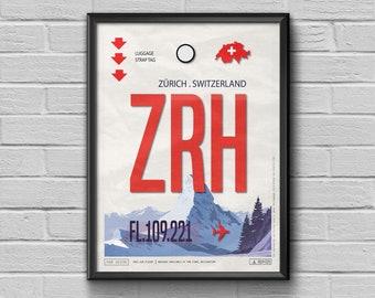 Zurich Airport Tag, Switzerland Poster, ZRH Airport Code, Zürich Luggage Tag, Zurich Framed Print, Switzerland Souvenir, Alps Souvenir