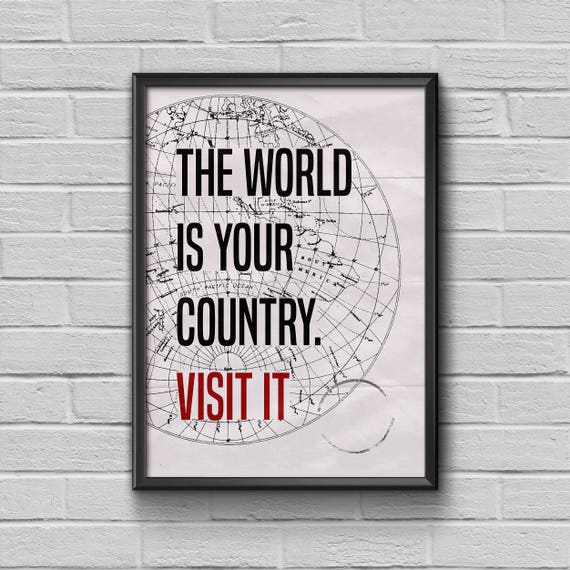 World Is Yours Travel Quote Vintage Map Print Quote Art Etsy
