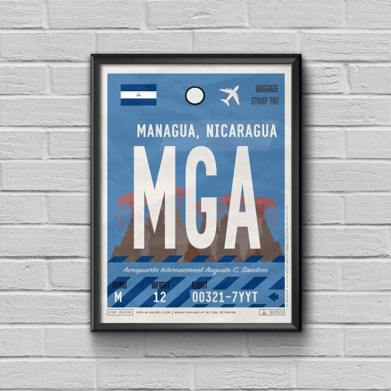 Managua Poster Luggage Tag Framed Print Nicaragua Vintage Art Travel Poster Mga Airport Code Flight Gift For Travellers Travel Souvenir