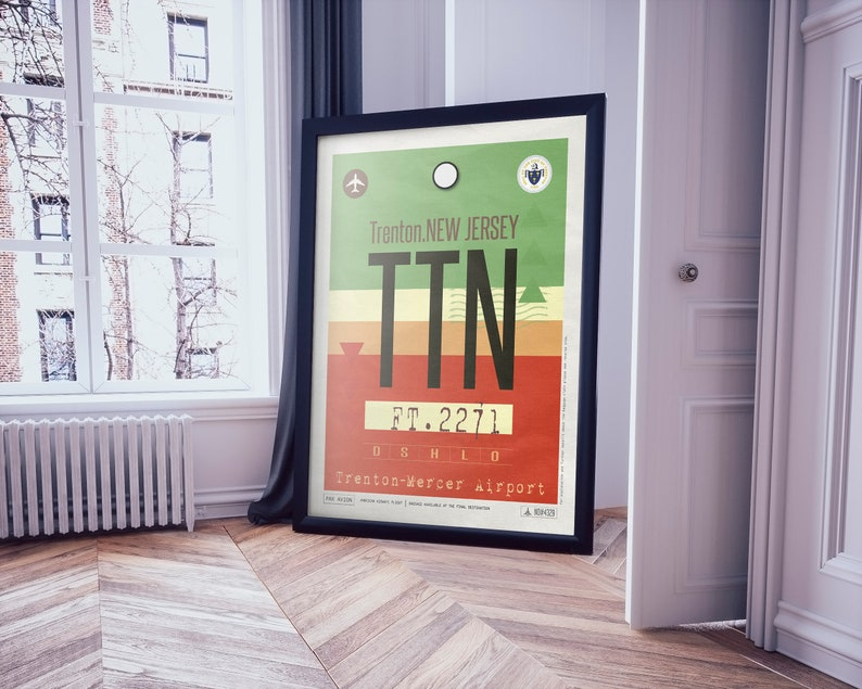 Trenton Airport Tag, New Jersey Travel Poster, TTN Airport Code, Framed  Print, TTN Luggage Tag, USA State Souvenir, New Jersey Souvenir