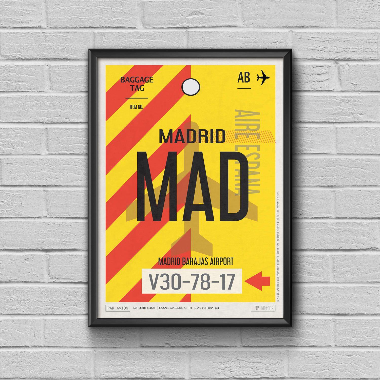 Madrid Madrid Gepäck Tag Drucken gerahmt Reise Dekor MAD