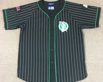8fd225115 VTG Starter Boston Celtics Pinstripe Button Up Baseball Jersey Black Adult  XL