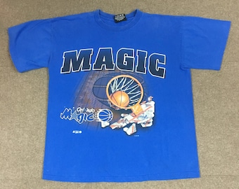 b1ed2fe7278dda VTG Magic Johnson T s Orlando Magic Shattered Backboard T-Shirt Blue Adult  Large