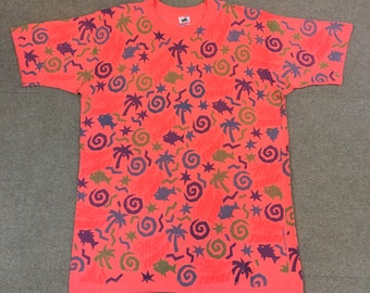 7653f79ca62 VTG Miller Time All Over Print T-Shirt Salmon Pink Adult Large Beer Party  90s