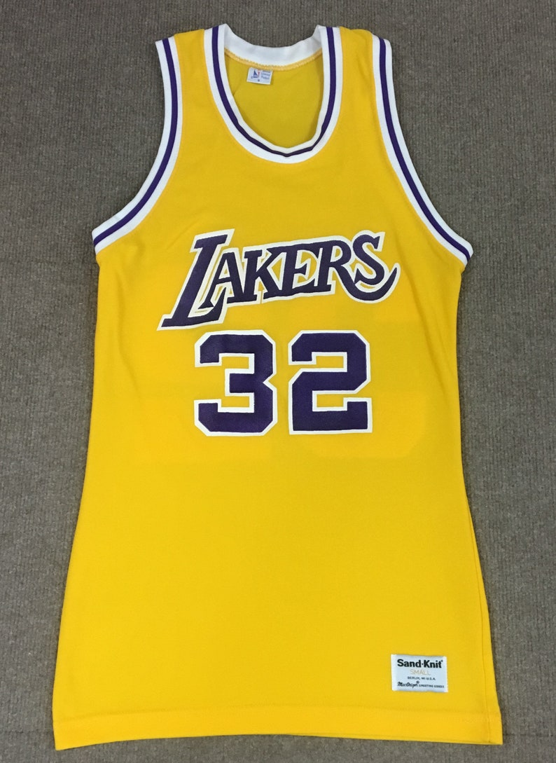 new concept 0e864 33b69 VTG Sand Knit Magic Johnson Los Angeles Lakers Jersey #32 Yellow Adult Small