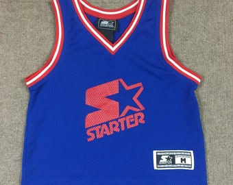 VTG Starter Plain Logo Mesh Basketball Jersey Blue w/ Red/White Trim Youth M 5/6