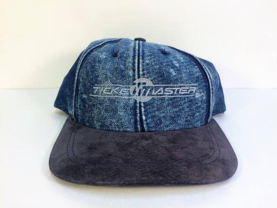 fb5b1b71f1e VTG Ticketmaster Denim Black Suede Brim Snapback Hat
