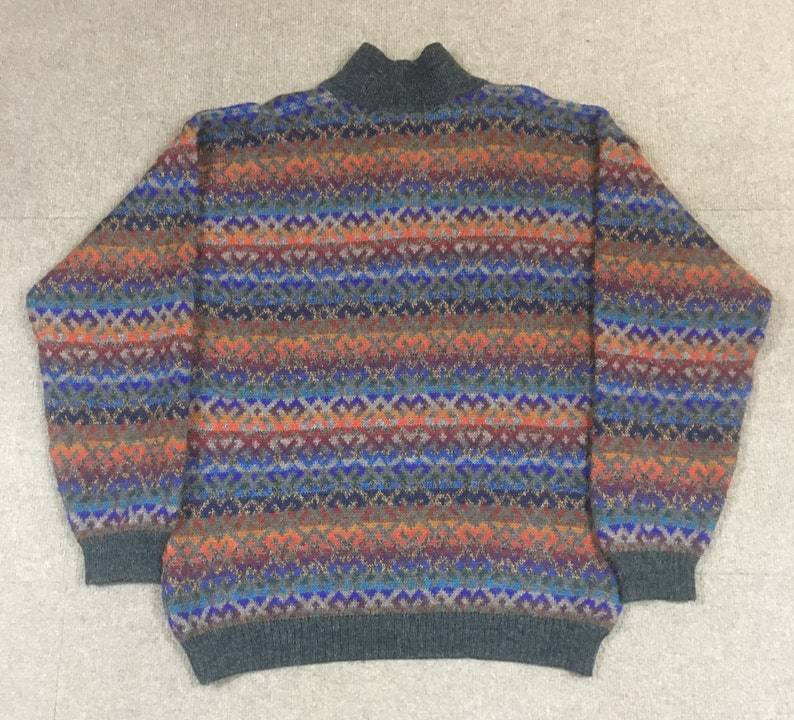 VTG The Territory Ahead 3 Button Pullover Multicolor Alpaca Sweater Adult Large
