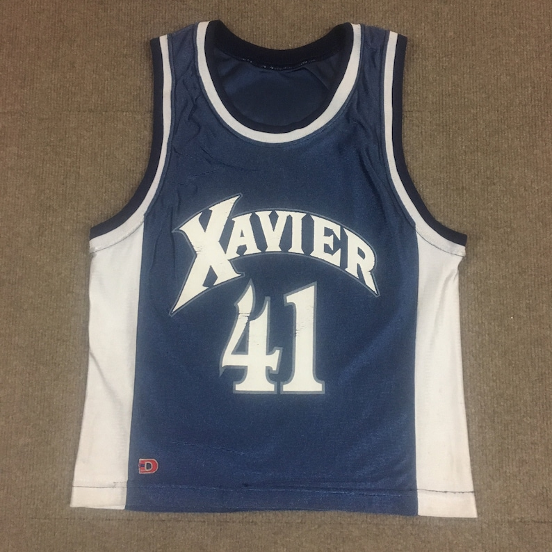 VTG Dodger James Posey Xavier Musketeers Basketball Jersey #41 Navy Blue Youth M