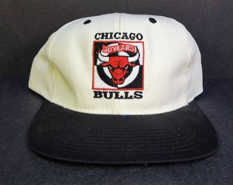 VTG Chicago Bulls 30th Anniversary Sunbeam-Oster Snapback Hat White/Black 1996