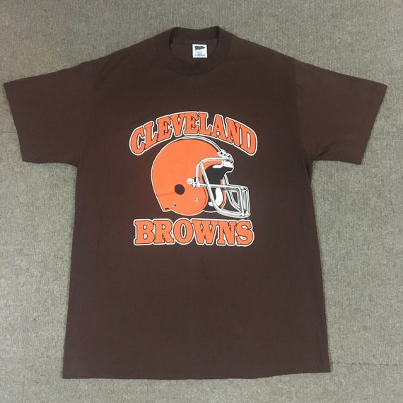 VTG Trench Cleveland Browns NFL T-Shirt Brown Dawg Pound Adult Large 42-44 8dc8c633f