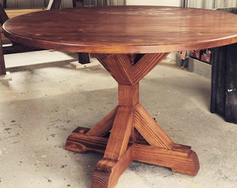 Rustic Round Table Etsy
