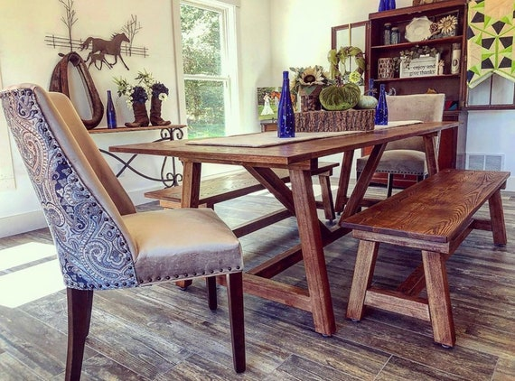 Farmhouse Dining Table, Kitchen Table, Rustic, Dining Room Decor, Kitchen  Decor, Handcrafted, Solid Wood Furniture, Dining Table, Farm Table