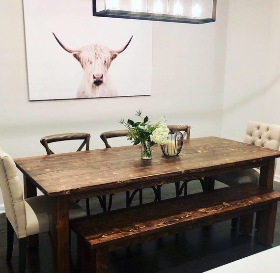Classic Farmhouse Dining Table, Kitchen Table, Rustic, Dining Room Decor,  Kitchen Decor, Handcrafted, Solid Wood Furniture, Dining Table,