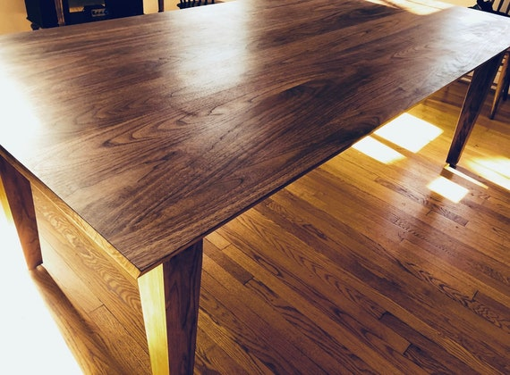 Modern Solid Walnut Dining Table, Kitchen Table, Solid Wood, Walnut,  Tapered Legs, Wood Furniture, Handmade, Modern Farmhouse