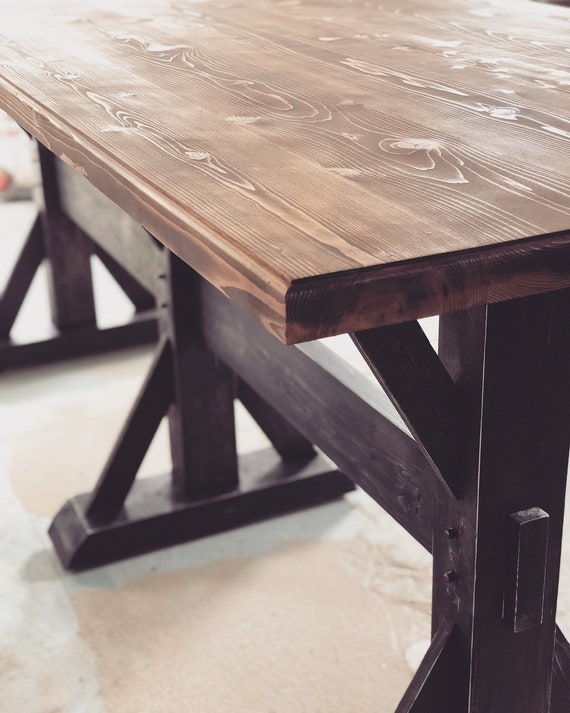 Rustic Trestle Dining Table Farmhouse Dining Room Decor Etsy