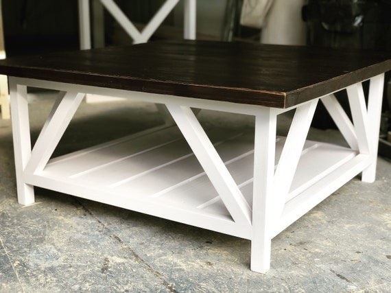 Modern Square Coffee Table Rustic Farmhouse Living Room Etsy