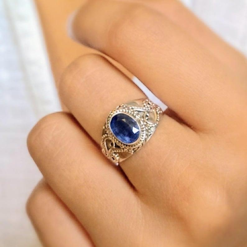 Kyanite Ring Blue Stone Ring Bohemian Ring Gypsy Ring Etsy