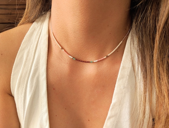 Seed bead necklace Long necklace Color block necklace Dainty necklace Boho necklace Layering jewelry Boho jewelry Macrame jewelry