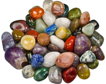 """2 Pounds RARE Indian Tumbled Polished Natural Stones Assorted Mix - Small Size - 0.75"""" to 1.25"""" Avg."""