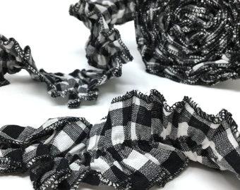 White & Black Mini Buffalo Ruffled Homespun Fabric Ribbon Trim or Christmas Garland - 1 roll - 144 inches (12 feet)