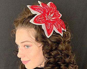 Lace Floral Fascinator, Red Fascinator Hat, Irish Dance fascinator