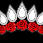 Rose Tiara in metallic silver and red.