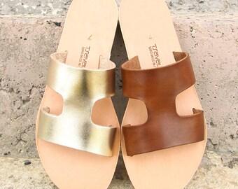 22927fe82dda5 Leather Cut Out Flat Mule Sandal Handmade in Greece by Tsavalas