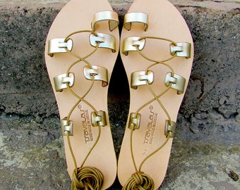 Girls Flower Toe Ring Premium Gold Leather Sandals Handcrafted in Greece
