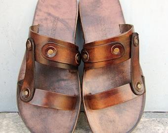 Mens Double Strap Premium Leather Sandals
