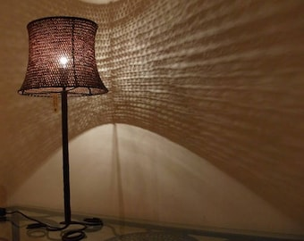"""Lamp """"Margarita"""" atmosphere in wrought iron and hemp woven crochet. Canapart, Salento"""