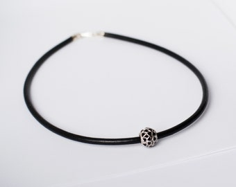 9d16a18fa Leather choker with Pandora style bead minimalist collar Leather Necklac