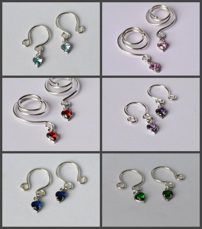 Aquamarine Zircon Nipple rings non piercing clamps with hearts Nipple Dangles
