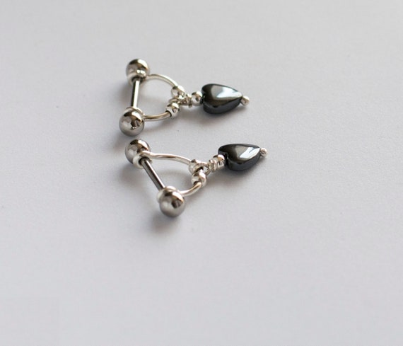 White Surgical Steel Nipple Barbells w//Opal Glitter Centered Tribal Heart Filigree Ends